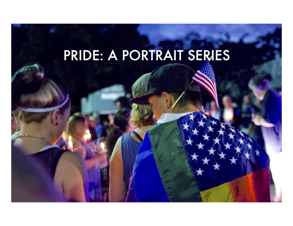 """PRIDE is a portrait series of the LGBTQ community in the Hampton Roads area of Virginia. It was photographed from January to June of 2017, and was commissioned by  AP_Math for  Hampton Roads Pride . The stories included in this series are in the participants' own words.  This image is from """"Love Unites,""""the candlelight vigil for Orlando, organized by Hampton Roads Pride on June 12, 2016."""