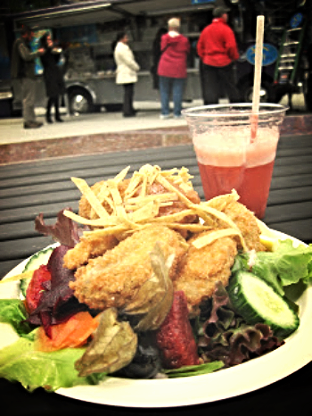 Fanny Bay Oysters – Panko breaded, with Henry Reed organic greens, truck made smoked tomato cocktail sauce. $11
