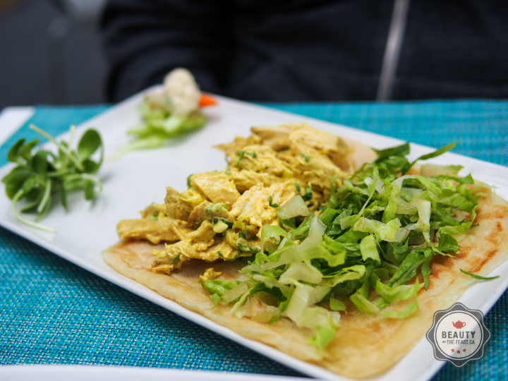 Cold curried chicken wrap with naan.