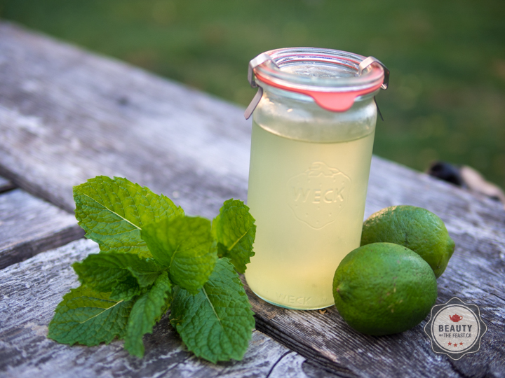 mint and lime syrup in a weck jar