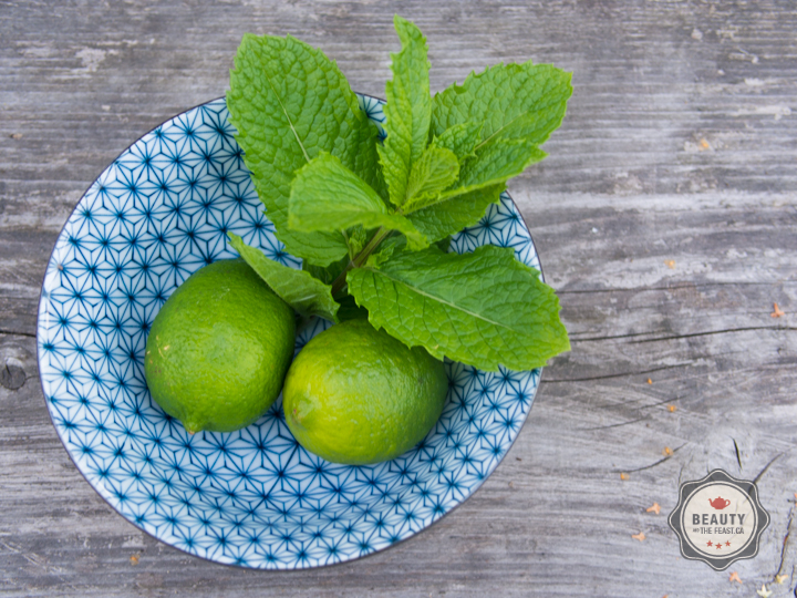 lime and mint in a bowl