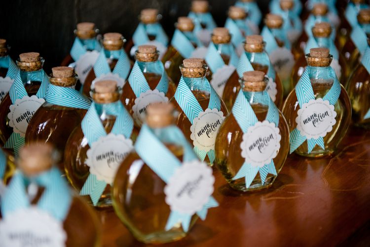 For our wedding, Jong and I had a World of Warcraft tribute as our party favors. We gave each guest a  Mana Potion . Actually it was homemade organic meyer lemon lemoncello. It was freaking tasty, but I doubt anyone got much of a mana boost from it :)
