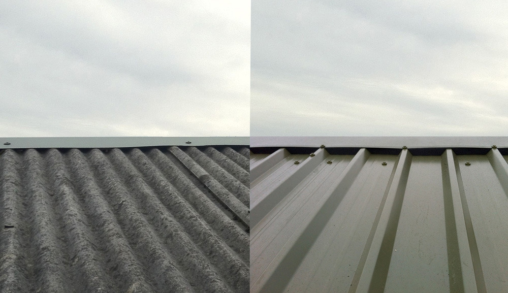 Corrugated Roof before and after installed by West Design and Build of Hedon.jpg