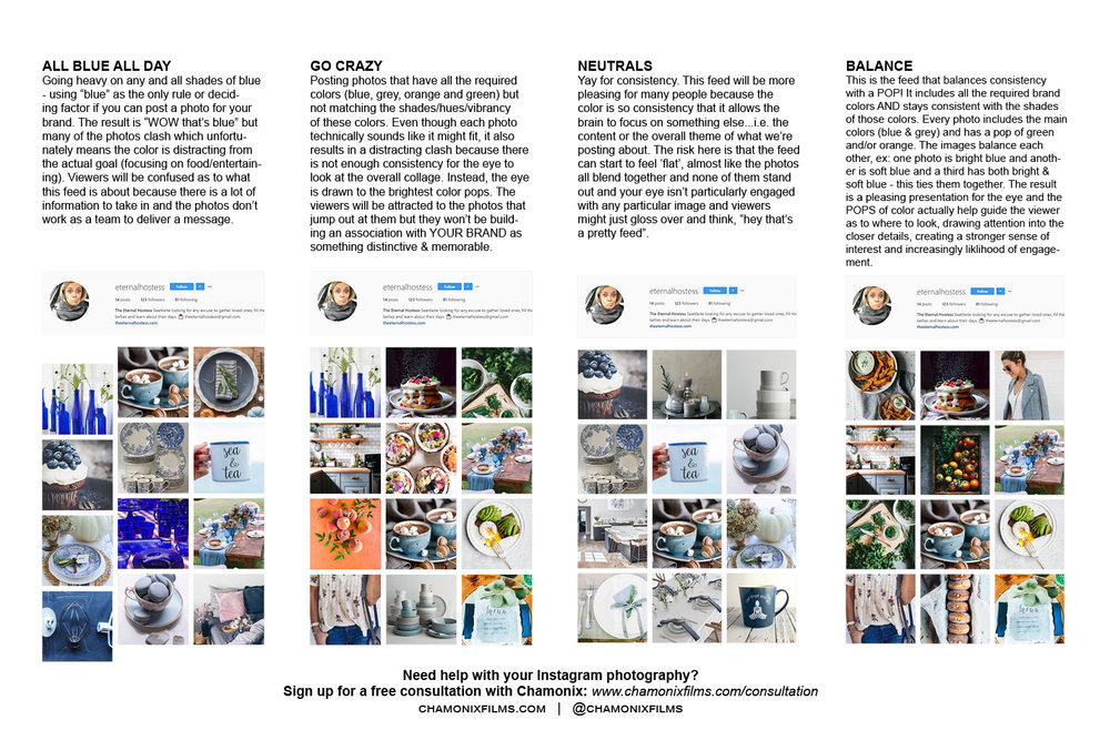 Improve your Instagram gallery with Consistent Color Themes - instagram critique and curation services - chamonix films - the eternal hostess - seattle branding marketing photography