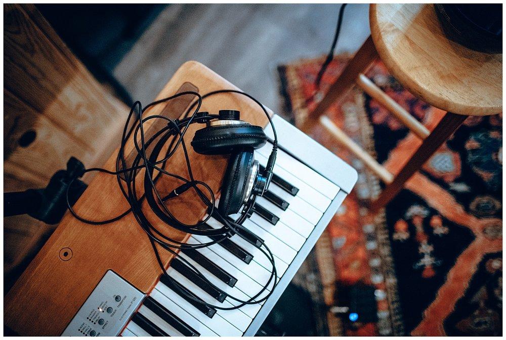 Chamonix Films - Seattle Music Videographer - Music Photography - keyboard headphones instruments
