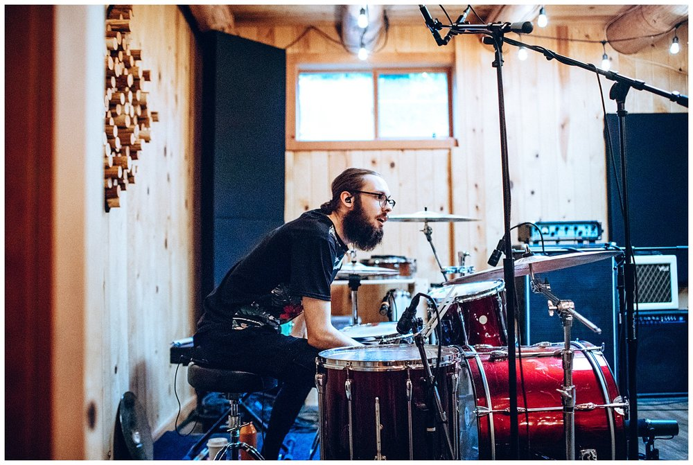 Chamonix Films - Seattle Music Videographer - Music Photography - drummer cade laget at cabin recording
