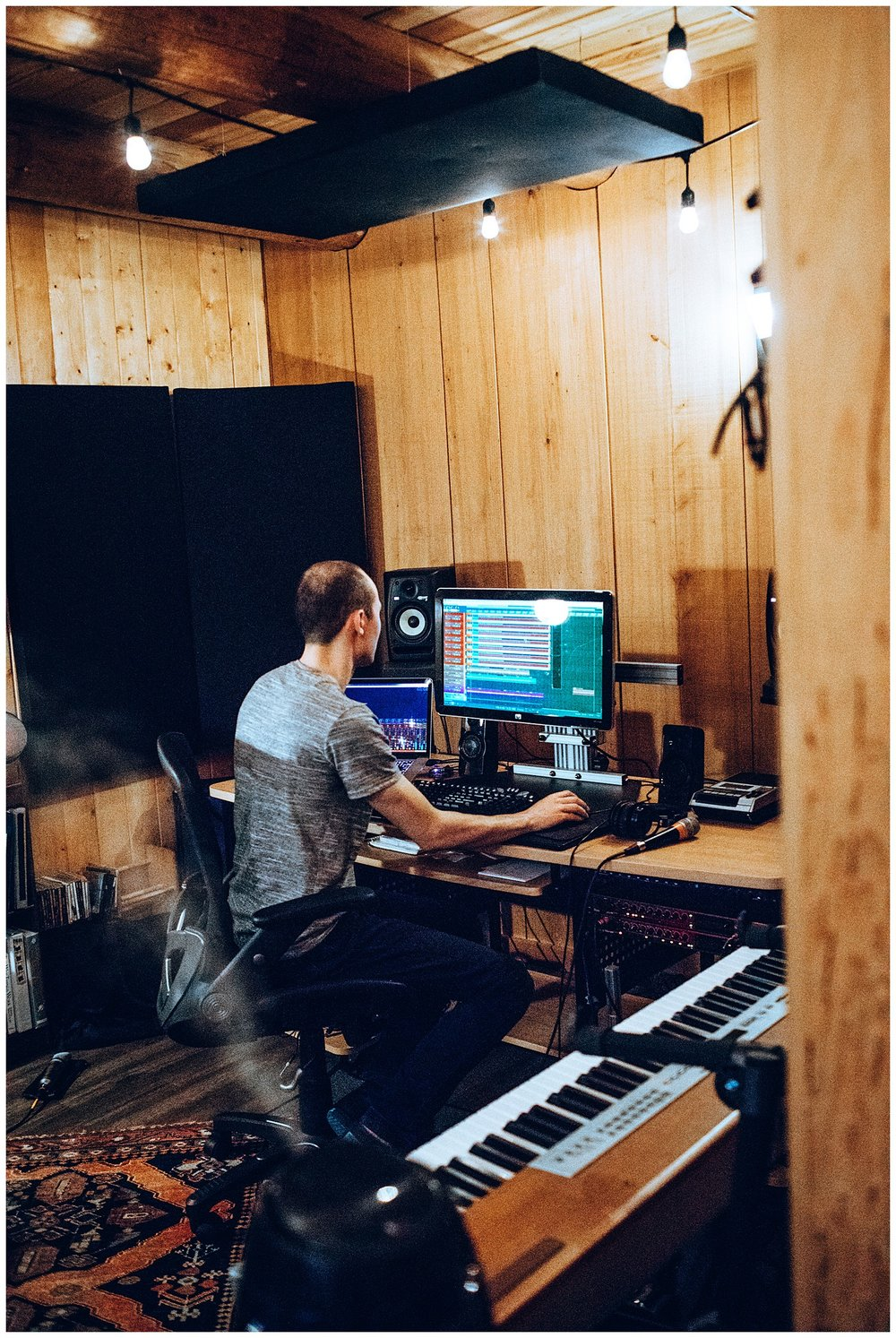 Chamonix Films - Seattle Music Videographer - Music Photography - tyler mays producing at cabin recording
