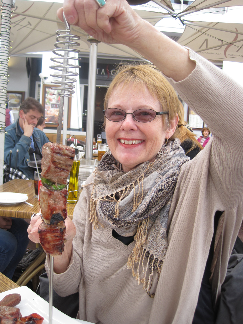 The artist, Karen Spencer, with a delicious kebab!