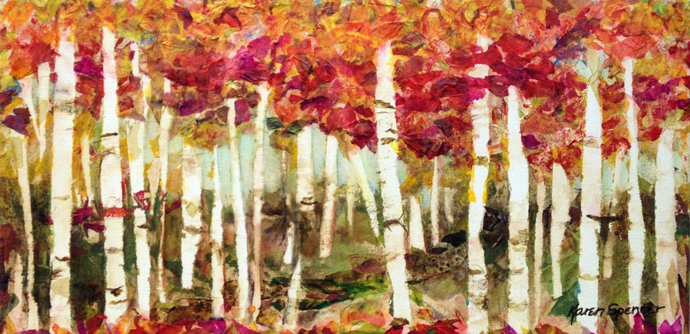 """Appalachian Blazemixed-media collage by Karen Spencer, 12"""" X 30"""" X 1-1/2"""" on gallery-wrapped canvas"""