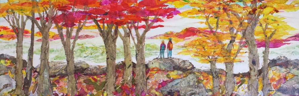 """Scenic Overlook Mixed Media Collage 12"""" X 36"""" X by 1-1/2"""""""