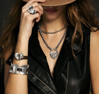 Show your wild side! Leather and silver bring out a fun, new way of expressing your rough and tough side in a chic way.