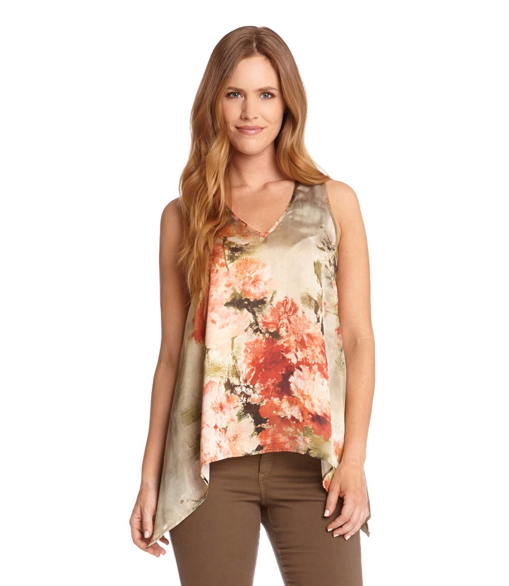 Light florals are a unique touch to a classic tank.