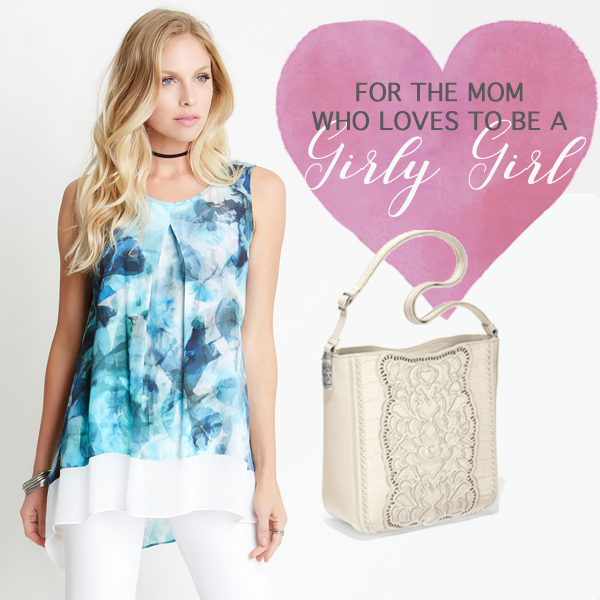 Girly Mom - We are loving these gifts for the girly mom. This Karen Kane floral tank is absolutely adorable. It will effortlessly take your mom from spring to summer. We think it looks cute with this Brighton handbag. What do you think?