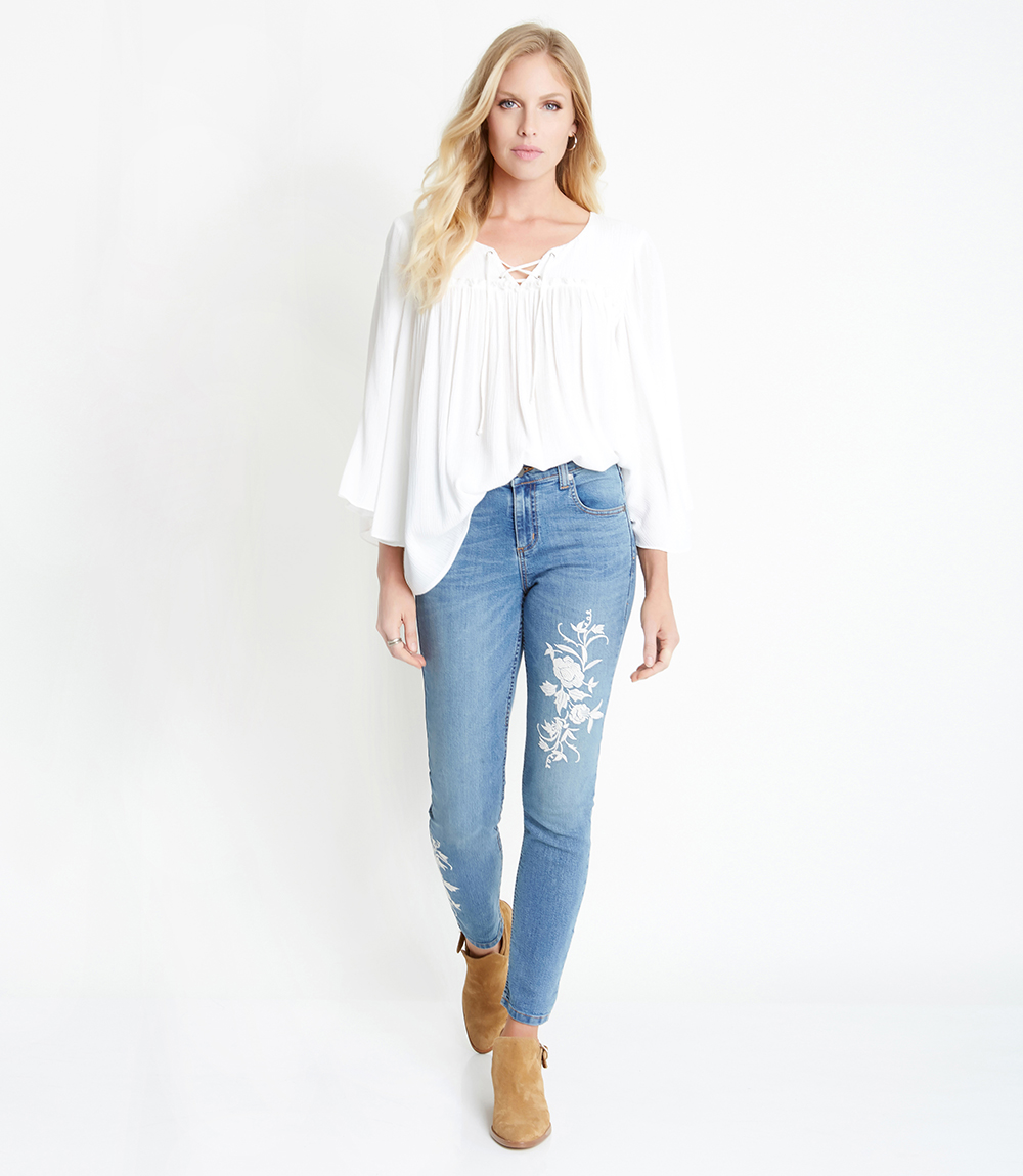 Skinny Jeans - Karen Kane Embroidered Skinny JeansWe are obsessed with these Karen Kane embroidered skinny jeans. They have just the right amount of embroidery to keep your outfit looking fresh and classic. The off-white floral details allow you to wear these jeans with just about anything. We think they look