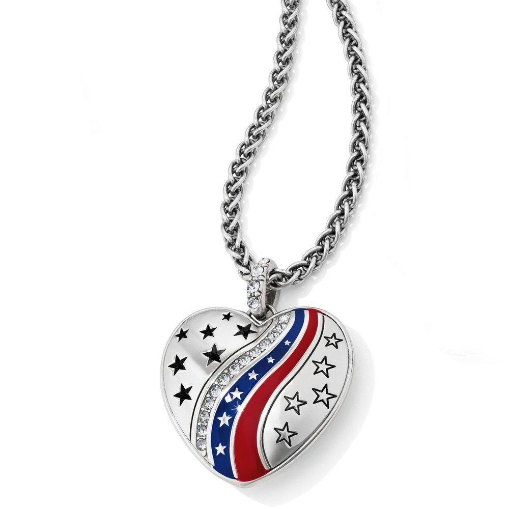 Patriotic Heart Necklace - First, let us introduce you to the Patriotic Heart Necklace. We know, creative name. But hey, it is nonetheless, a patriotic heart necklace and a great statement piece. This silver heart pendant is decorated with silver etched hearts and features hand enameled red and blue stripes. But that is not all, this beauty has also been decked out with Swarovski crystals.