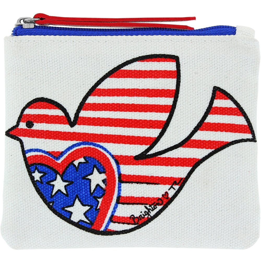 Show Your Stripes Mini Pouch - Tom Clancy, one of our favorite Brighton designers created this patriotic dove pouch. Can you believe it started as just a hand-rendered sketch?!