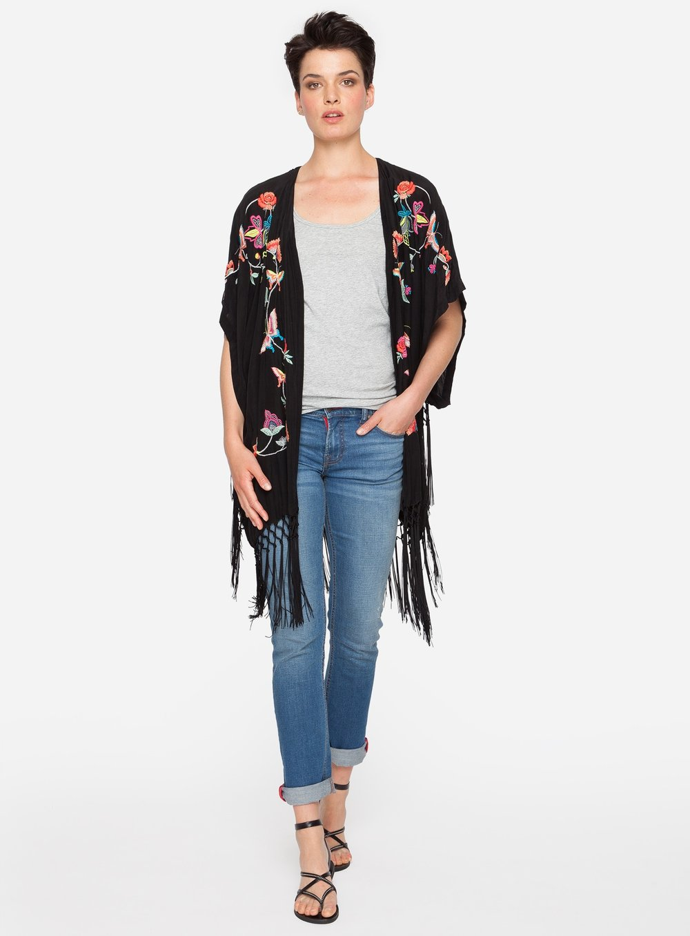 Fringe - Another summer element we are seeing fit right into the bohemian look is fringe. This Johnny Was Fairytale Kimono is perfect if you need a little more coverage on your arms. The colorful embroidery makes it suitable work or play.