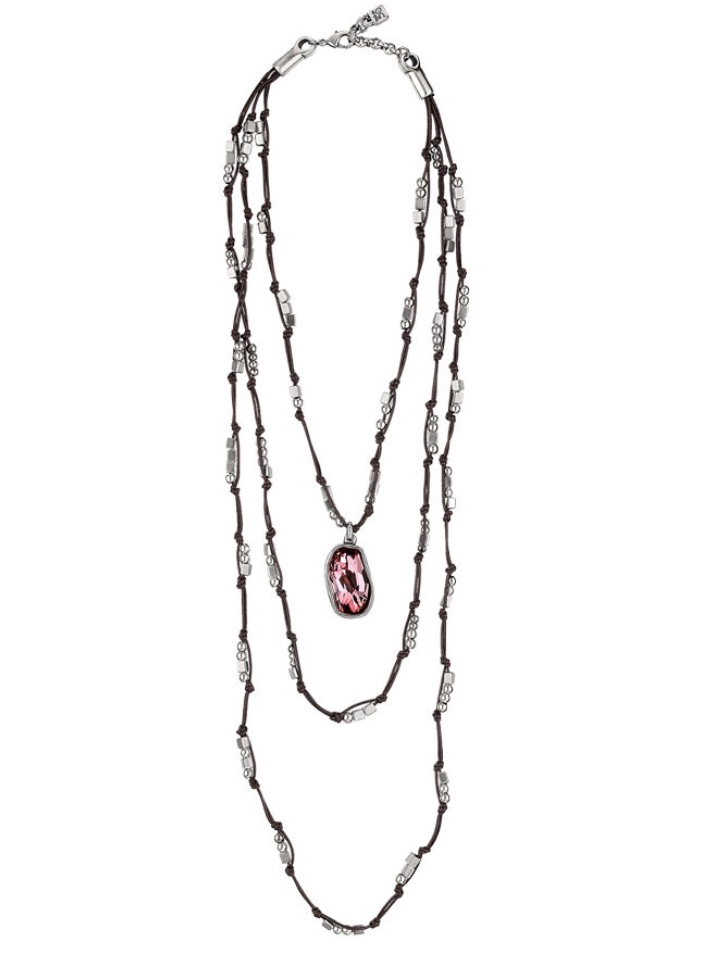 Uno de 50 I Will Survive necklace. Made with long leather, silver plated beads and a pink Swarovski crystal.