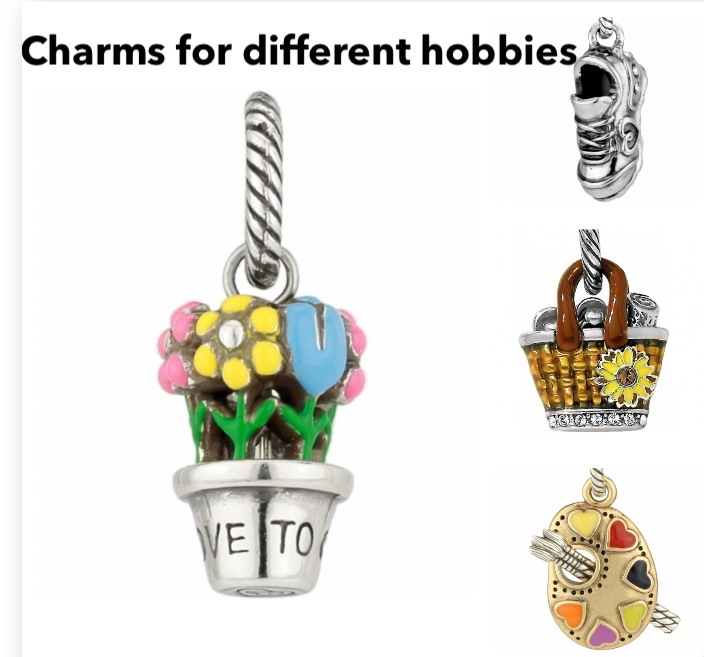 ABC Flower Pot charm $16, ABC Running Shoe charm $16, Daisy Straw Tote Charm $32, ABC Life is Art Charm $16