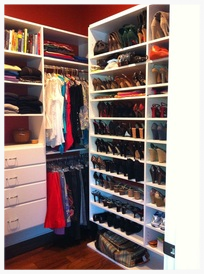 "Dream Closet - AFTER... We especially love the ""wall of shoes""!"