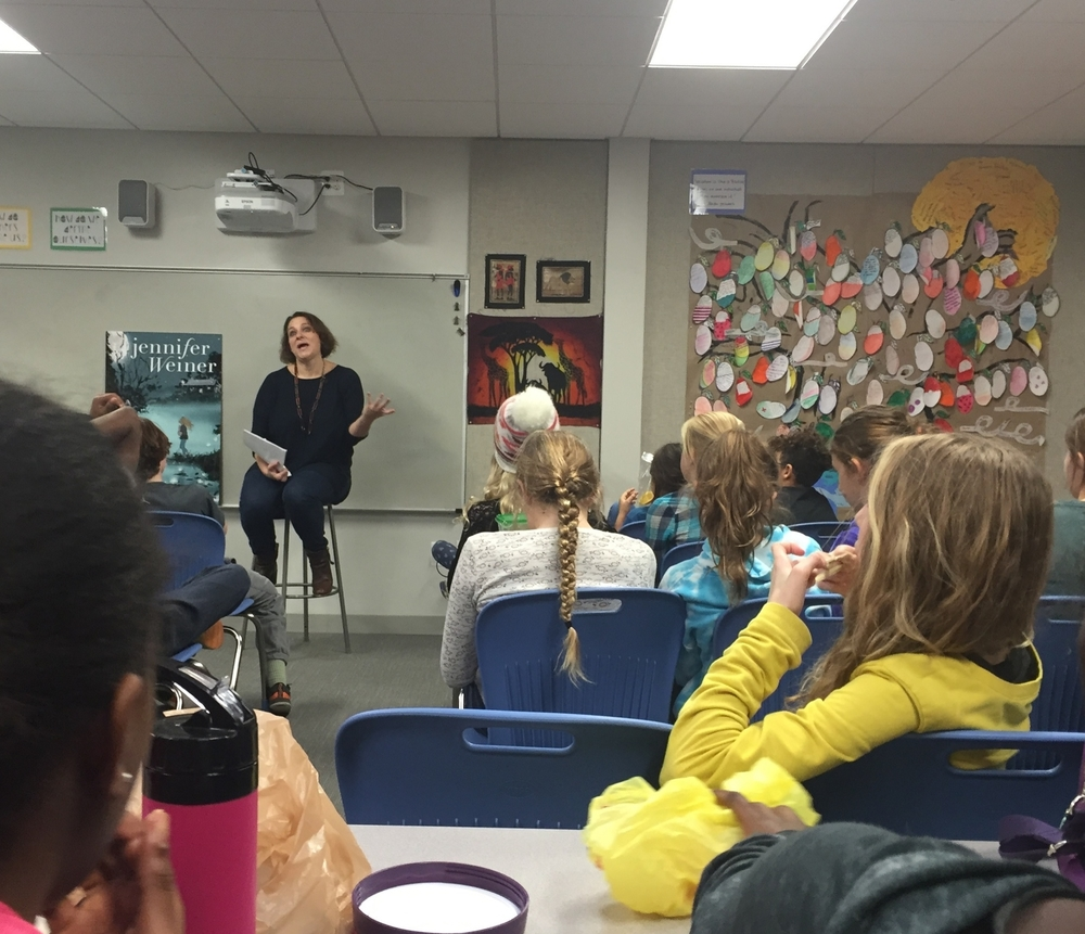 Best-selling author Jennifer Weiner speaks to middle school students about her career and her upcoming middle school trilogy.