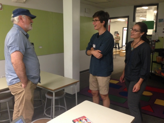 Ray reconnects en espanol with his former Spanish teachers, Marco Velis and Tiziana Acerbo.