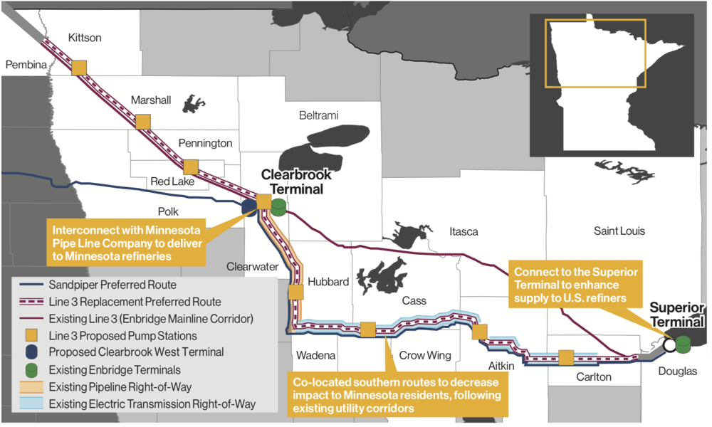 ENBRIDGE'S PREFERRED ROUTING THROUGH MINNESOTA (COURTESY ENBRIDGE)