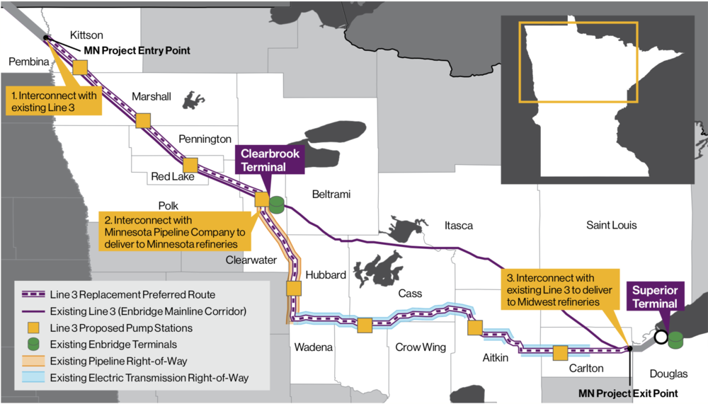 EXISTING AND PREFERRED ROUTE (COURTESY ENBRIDGE)