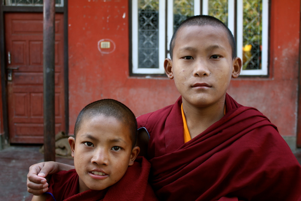 Dhawa (right) with a new monk.