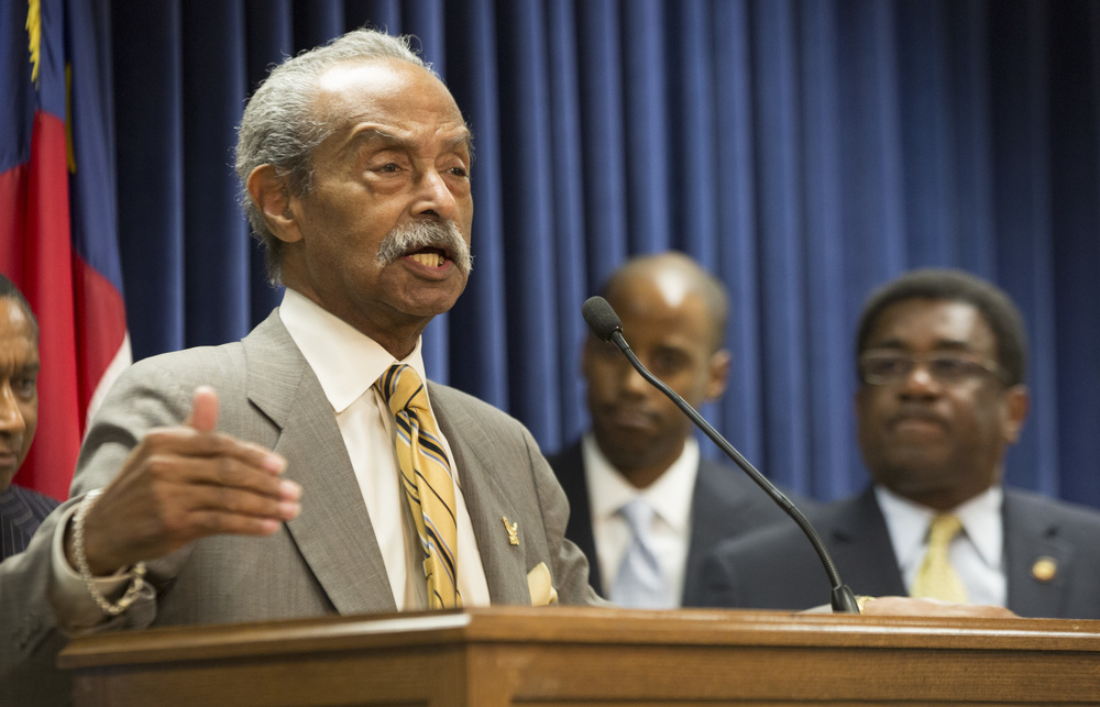 Wednesday: Rep. Mickey Michaux, a member of the North Carolina Legislative Black Caucus, speaks at a press conference, commemorating the 50th anniversary of the 1964 Civil Rights Act at the N.C. Legislature Wednesday, July 2, 2014.