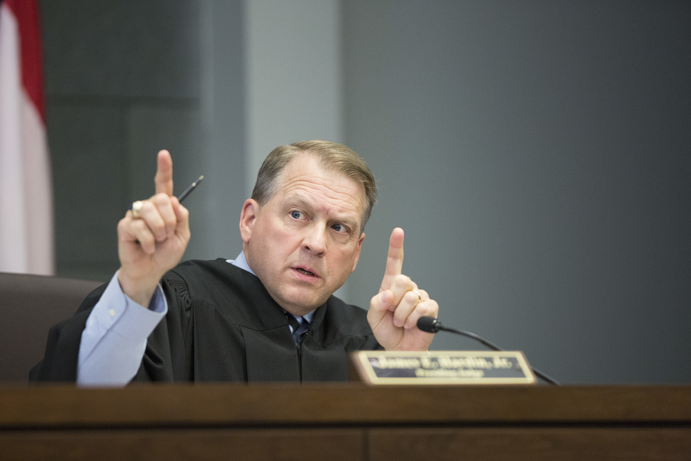 Judge Jim Hardin instructs the jury.