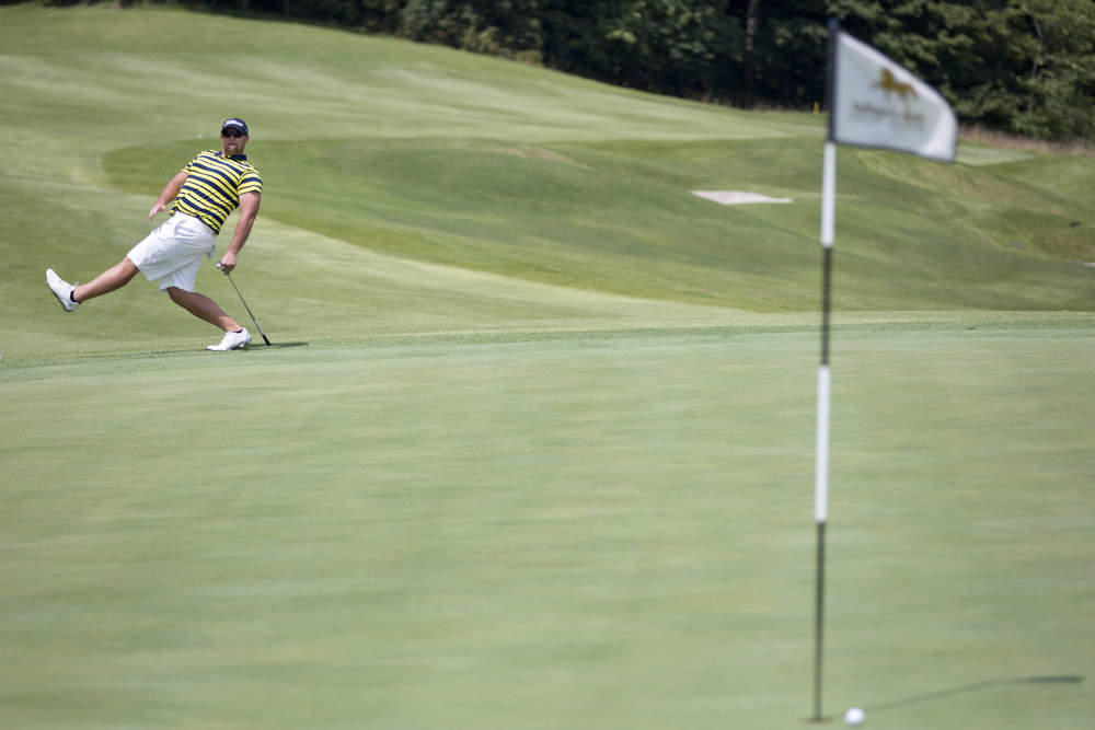 Derek Bolling reacted after his putt sent the ball just wide of the hole during the final round of the Dubois County Amateur at Sultan's Run Golf Club in Jasper on Sunday. Jacob Bartley won the tournament after defeating Anthony Seng on the second sudden-death playoff hole.