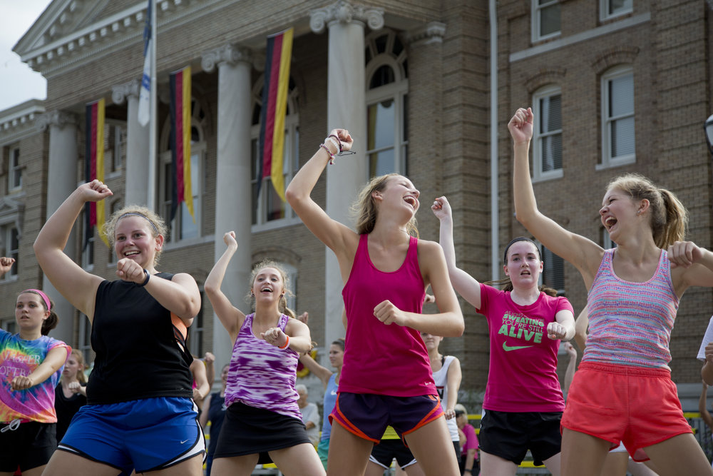 Laurel Hubster, 15, from left, Emily Mathies, 17, Priscilla Olson, 17, Rilyn Rusher, 17, Paige Green, 17, and Lydia Shepherd, 17, all of Jasper, participated in the Country Heat workout class at Strassenfest in Jasper on Saturday morning.
