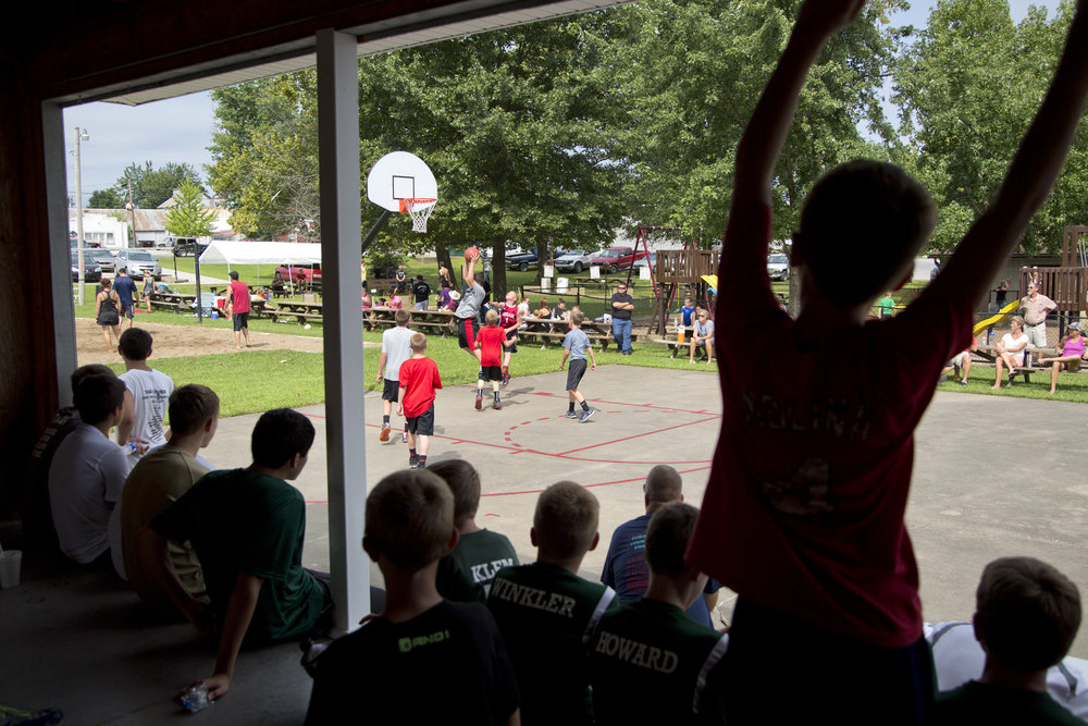 A crowd gathered to watch the 3-on-3 basketball tournament during the town of Birdseye's annual picnic at Birdseye Park on Saturday.