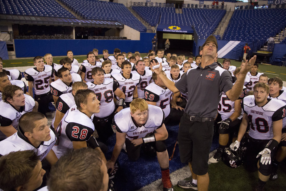 "Southridge assistant coach Brad Ohanian encouraged the players to ""soak it all in"" after beating North Posey at Lucas Oil Stadium in Indianapolis on Saturday. The Raiders won 48-25."
