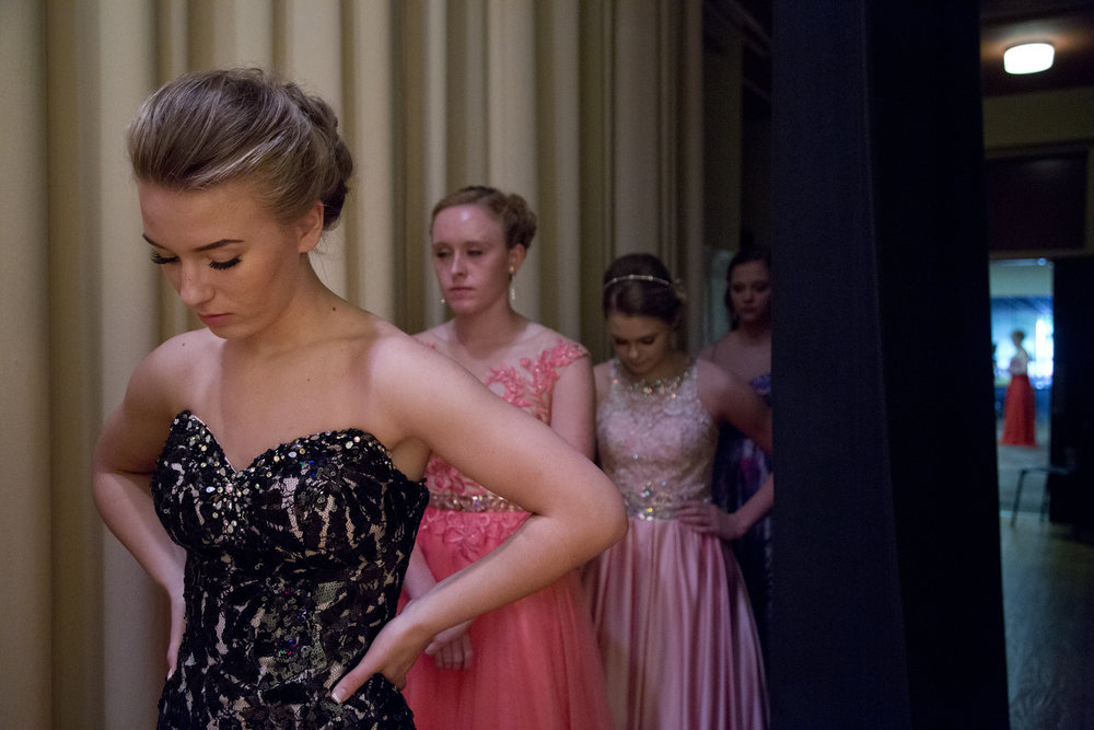 Montana Jones of Huntingburg, 16, collected her thoughts while waiting her turn on stage during the pageant at Southridge High School in Huntingburg on Sunday.