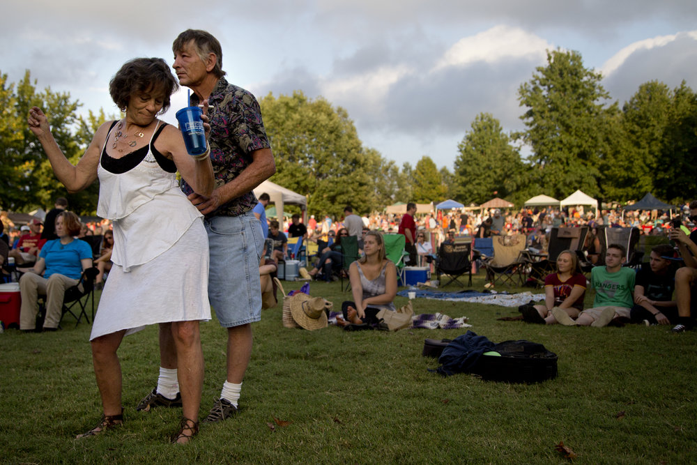 "Terri Damron of Ashville, Ky., danced with her husband, Walter, during the Ferdinand Folk Festival in Ferdinand on Saturday. ""He's my husband of 40 years,"" Terri said. ""God bless him!"""
