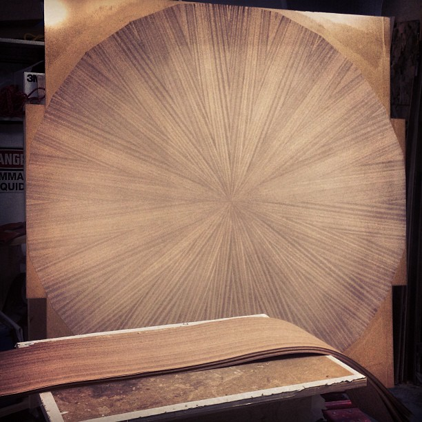 #custom dining room table - sunburst veneer design #mahogany #workinprogress #woodworking