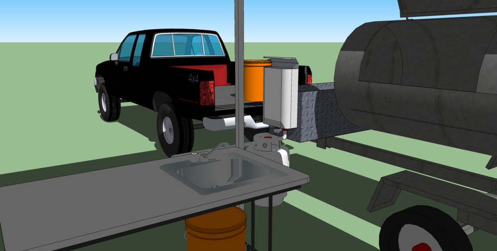 The tabel with a sink also has a cutting board with a cutting board and fluid guide, this will allow the freshes preperation of food. The eventually goal is a refrigerator system withing the SUV.