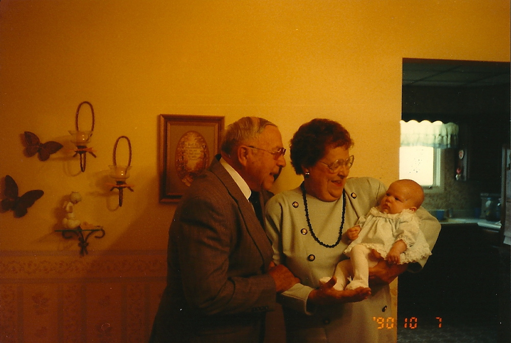 10/7/1990 - My great grandparents, holding baby Maggie. They were quite the pair.