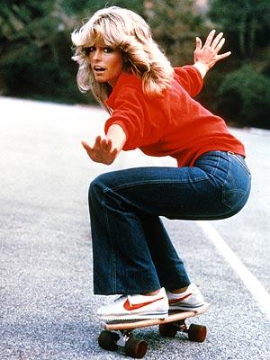 farah fawcett skateboarding