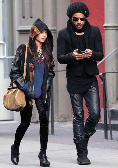 Lenny Kravitz with daughter Zoe USmagazine