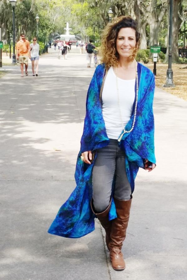 photo: Jaime. Lyn wearing the Mandala Kimono, available online April 20th