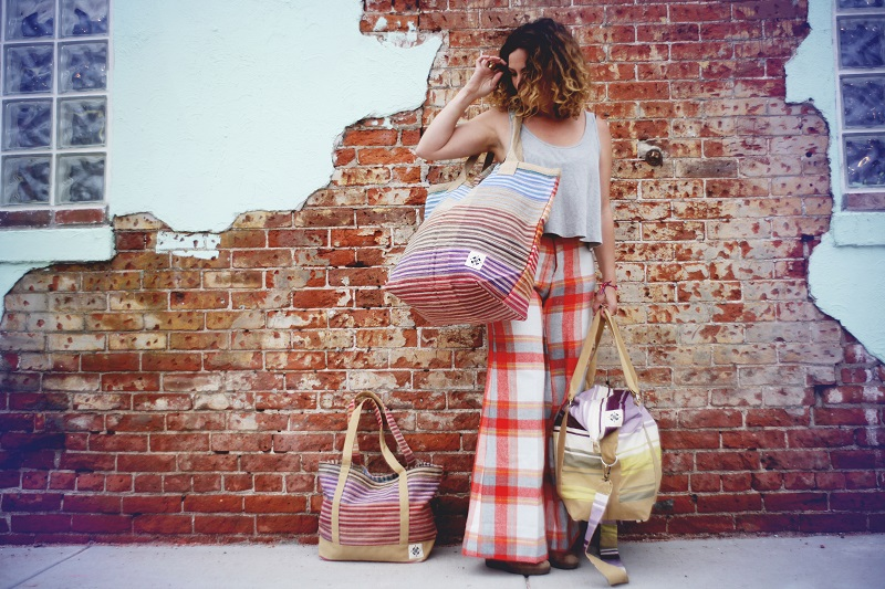 Left: Day Tote  Holding: Beach Tote Right: Weekender Pants: Vintage (my own)