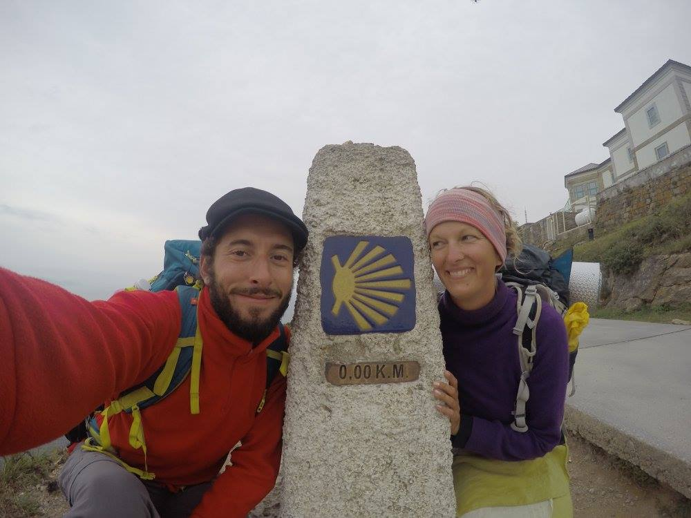 on the camino de santiago with her boyfriend Antoine (different boyfriend that suggested they travel overland).