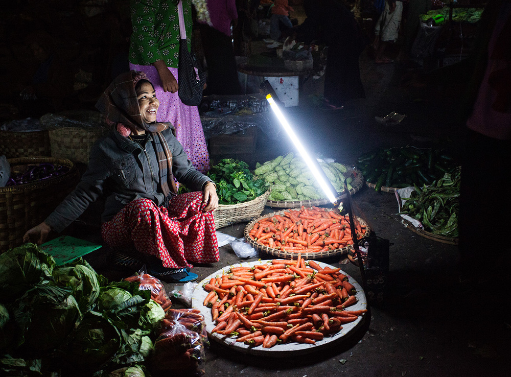 LED lights are used to illuminate the fresh produce
