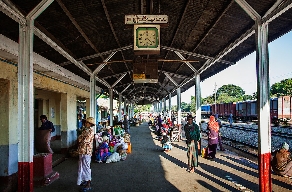 Passengers waiting at Shwebo Station