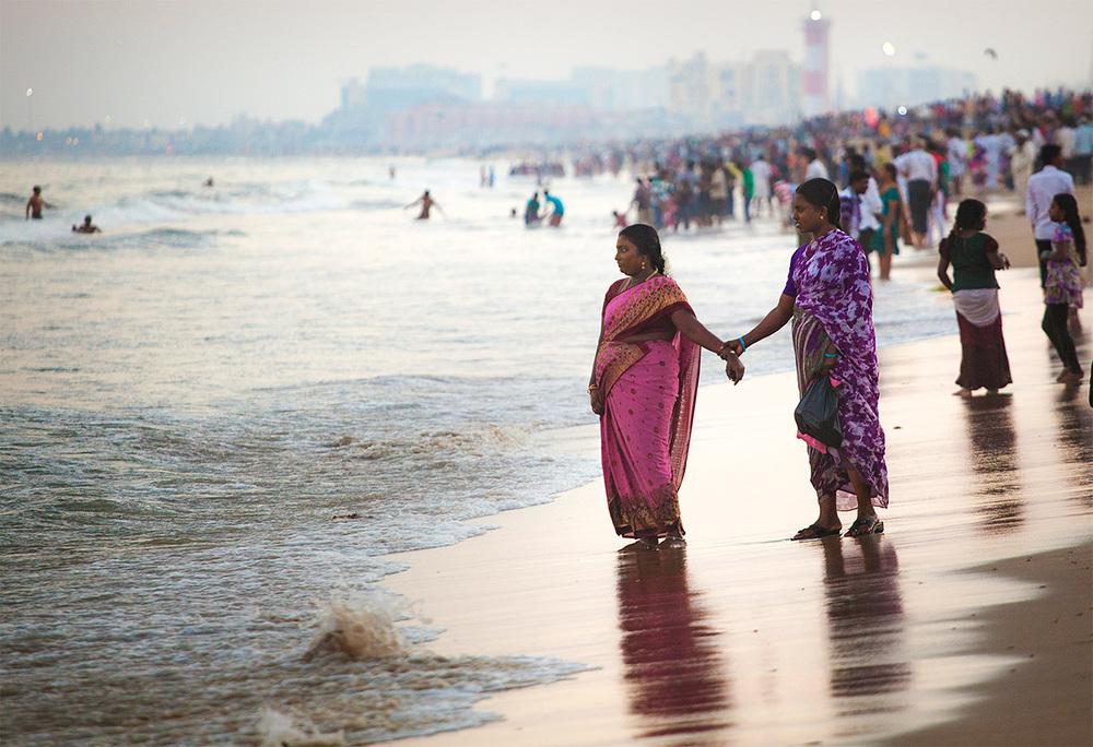 Women watching the waves