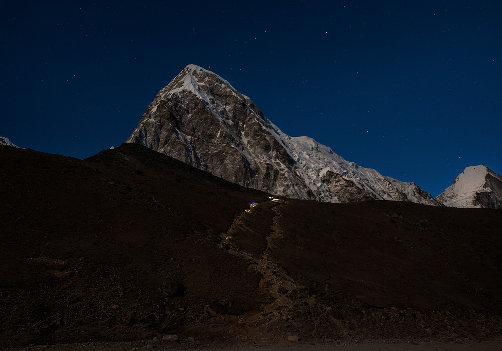You can see hiker's headlamps walking up to Kala Pattar