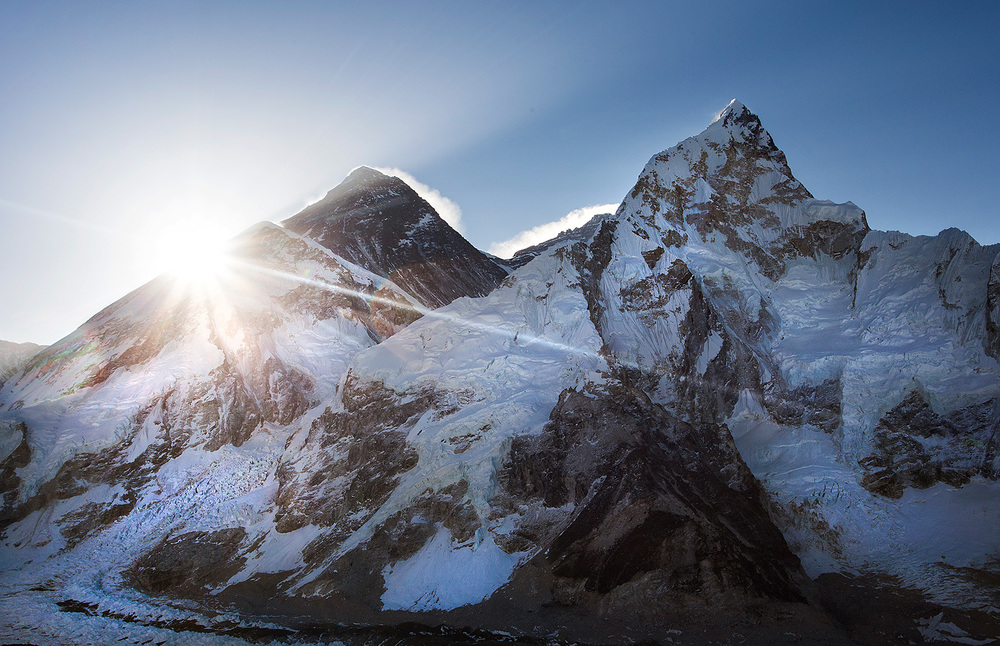 Sunrise! Nuptse on the far right, Everest is the black one closer to the middle